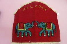 Name of the product –Welcome Material – Wool,Tana, Synthetic thread Size =14x13 Time frame –Three days Cost – Rs.300/-