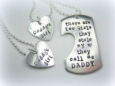 Two Daughters, Personalized Handstamped Daddy daughter - There are two girls they call me daddy father's day