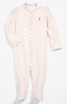 Free shipping and returns on Ralph Lauren Footie (Baby Girls) at Nordstrom.com. A diminutive print enhances the contrast trim of a snuggly cotton footie.