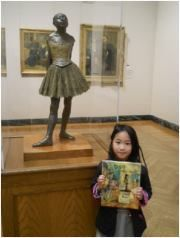 I was very impressed when this young lady asked me to show her the way to Degas's 'Little Fourteen-Year-Old Dancer.' She brought her favorite book by Laurence Anholt, available in the MFA shop, to make sure I knew exactly what she was looking for in the gallery. The book tells the story of a young ballerina who struggled to establish her dancing career, and ended up modeling for Degas.  - Lauren, MFA Ambassador, Museum of Fine Arts, Boston.