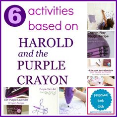 6 harold and the purple crayon activities for preschool book club Preschool Colors, Preschool Curriculum, Preschool Themes, Kindergarten Activities, Teach Preschool, Homeschooling, Purple Crafts, Purple Books, Crayon Crafts