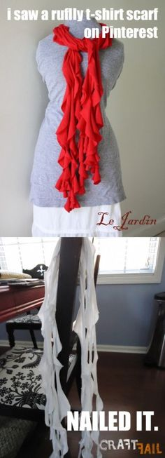 Ruffly t-shirt scarf... fail (but more importantly, Pinterest Party?? Can I be invited?) #craftfail