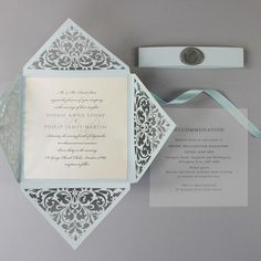 Dusty Blue Wax Seal Laser Cut Lace Pocketfold Wedding Invitation + Wedding Wish Set