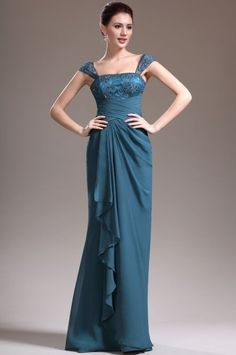 Sheath Column Straps Floor Length Chiffon Blue Evening Dress With Pleating