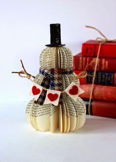 A snowman made of books!