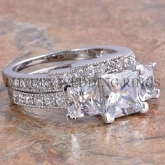 ADD ANOTHER BAND ON OTHER SIDE FOR 3 piece set 3.75Ct Princess Cut 3 Stone Engagement Wedding Ring Set Women's Bridal Jewelry #LWR