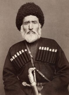 An Elderly man in traditional Russian clothing poses for a portrait. Daghestan, George Kennan,1870