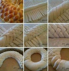 Pretty presentation for any rolled bread dough or pastry. Bread Recipes, Baking Recipes, Dessert Recipes, Pastry Dough Recipe, Pastry Design, Bread Art, Bread Shaping, Braided Bread, Cooking Cake