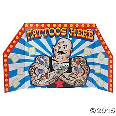 Carnival Tattoo Booth Stand-up, Cardboard Cutouts, Party Decorations, Party Supplies - Oriental Trading