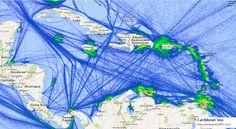 Visualization of Traffic at Panama Along Principal Trade Route Model Warships, Marine Traffic, Merchant Marine, Panama Canal, Caribbean Sea, Data Visualization, Oceans, Time Travel, Maps