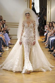zuhair murad couture fall 2013. Just for the lace & beading work, amazing detail...the head piece is over done,let the dress be the stand out
