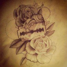 Razor Blade Heart Tattoo Pin razor blade ilustration by me school ...