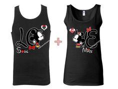 9a639ee383 Couple TANK TOP T-shirt Mickey Minnie Love Kissing Matching Shirts Couple  Tshirt