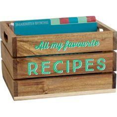 Jamie Oliver Wooden Recipe Box, Natural