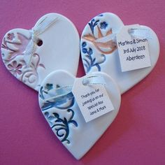 Ceramic wedding favours...use as ornament or add magnet