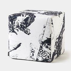 Modern Upholstered Pedestal Cube Ottomans | Unison