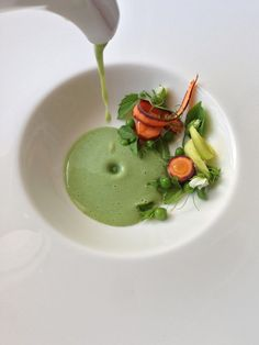 english pea soup...present with garnishments already in bowl and then have server pour soup