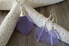 Handmade in Hawaii wire wrapped purple sea glass necklace  earrings jewelry set fresh water pearl sterling silver chain gift box sea glass jewelry love *** Click image for more details.Note:It is affiliate link to Amazon.