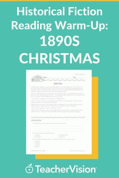 Improve students' reading skills with a passage of historical fiction and comprehension questions in this printable warm-up. This story focuses on the Christmas season and buying gifts in the late 1800s. Comprehension Questions, Reading Comprehension, December Holidays, Reading Skills, Historical Fiction, Literature, Students, Printable, Warm