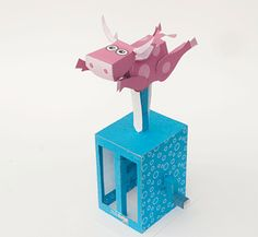 Turn the handle on this paper automata and the cow jumps up and down in [. Physics Projects, Lego Projects, Diy Paper, Paper Art, Paper Crafts, Contemporary Toys, Origami, Cardboard Sculpture, Robot Concept Art