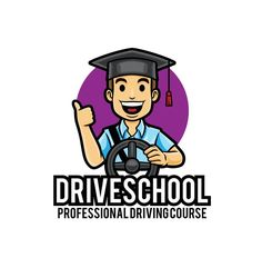 Driving Lessons Car Course Logo Mascot Template AI, EPS