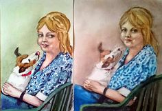 Denise and Penny Luminance colour pencils on poly film on the right.  Felt tips and pastel on photo quality paper on the left