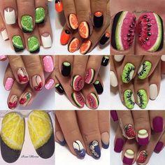 Owocowy manicure in 2020 Watermelon Nail Art, Fruit Nail Art, Cute Nail Art, Cute Nails, Pretty Nails, Fruit Nail Designs, Nail Art Designs, Design Art, Nailart