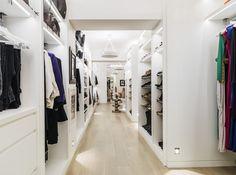 Walk in wardrobe with under shelf lighting