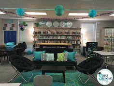Clean Middle School Classroom Decor Flexible Seating In The High School Classroom Middle School Classroom Decorating Games Teacher Classroom Decorations, Classroom Layout, Classroom Design, Math Classroom, Classroom Themes, Classroom Organization, Classroom Setting, School Themes, Classroom Ceiling Decorations