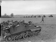 BRITISH ARMY FRANCE 1940 (F 3182)   Scout carriers of 51st Highland Division with Light Tank Mk VIs of 1st Fife and Forfar Yeomanry visible in the background, 19 March 1940.