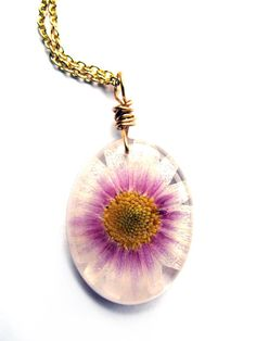 Real Chrysanthemum Necklace  Real Pressed Flower by ScrappinCop, $12.00