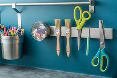 Here are 25 sewing room organization ideas! Get your sewing room organized today. Sewing Room Organization, Organizing Ideas, Magnetic Knife Rack, Quilt Ladder, Ikea Raskog, Kitchen Utensil Holder, Knife Holder, Stuffed Mushroom Caps, Atelier