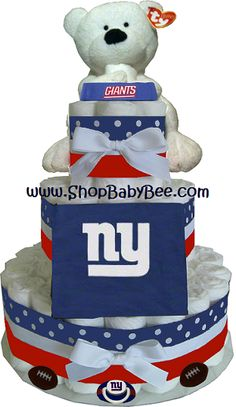 NY Giants Diaper Cake - Baby Shower Gift...if I get preggers qith a boy SOMEONE WILL MAKE THIS lol