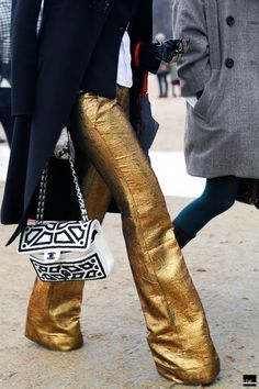 Golden flared pants.  I don't know why, but YES!  I would prefer silver though.