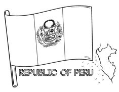 Printable Peru flag coloring page. Free PDF download at http://coloringcafe.com/coloring-pages/peru-flag/