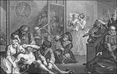 William Hogarth A Rake's Progress, Plate 8 (The Rake in Bedlam), Etching and Engraving, x 41 cm. Städel Museum, Frankfurt am Main. William Hogarth, Mental Asylum, Insane Asylum, Bedlam Asylum, Städel Museum, Asile, Psychiatric Hospital, Francisco Goya, Macabre