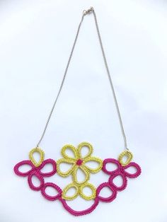 Pink And Yellow Crochet Necklace 2