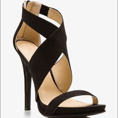 Crisscross stiletto sandals Suede heel with zipped back Forever 21 Shoes Sandals