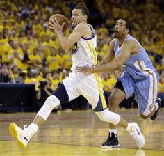 Stephen Curry, left, drives the ball past Andre Miller during the second half of Game 4 in a first-round NBA basketball playoff