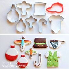 Fishing cookies using all kinds of cookie cutters! https://cookiecutter.com/onesie-cookie-cutter.htm Summer Cookies, Fish Cookies, Fancy Cookies, Royal Icing Cookies, Iced Cookies, Cute Cookies, Cupcake Cookies, Cookie Ideas, Cookie Designs