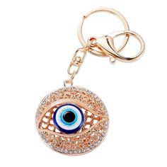 Personalized Metal Crystal Evil Eye Key Ring Unisex Keyring Car Keychain Women Charms HandBag Pendant llaveros Chaveiros PWK0383
