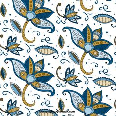 Flower pattern hand drawn in batik style Free Vector Doodle, Batik Art, Batik Pattern, Vector Flowers, Flower Patterns, Pattern Flower, Textures Patterns, Swirls, Wallpaper Backgrounds