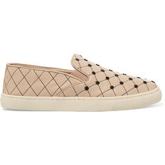 63e5647b0944 Tory Burch Embellished quilted leather slip-on sneakers
