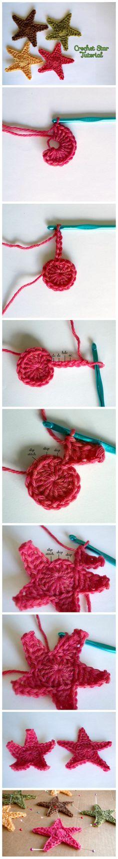 How to make a crochet star crochet diy, crochet amigurumi, crochet Crochet Diy, Crochet Gratis, Crochet Amigurumi, Crochet Motifs, Crochet Stitches, Simple Crochet, Crochet Appliques, Thread Crochet, Crochet Stars