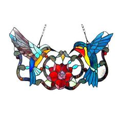Hummingbird Floral Tiffany Style Stained Glass Window Panel