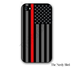 Thin red line American flag iPhone 4 5 5c and 6 by TheNerdyBird2