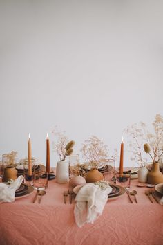 Blush tones and neutral flowers with taupe candles towards this table . - Blush tones and neutral flowers with taupe candles against this table decoration - Wedding Decorations, Wedding Centerpieces, Table Decorations, Deco Floral, Best Day Ever, Event Design, Wedding Table, Tablescapes, Wedding Details