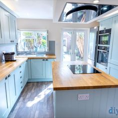 An Innova Clayton Cornflower Blue Shaker Kitchen