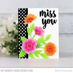 The Unpampered Stamper: MFT September Release Countdown - Day Flower Stamp, Flower Cards, Miss You Cards, Mft Stamps, So Creative, Paper Artist, Card Tutorials, Clear Stamps, Diy Cards