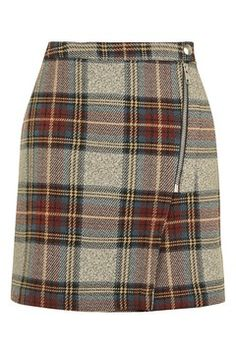 Belted Check A-Line Skirt